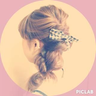 編み込み 愛され ヘアアレンジ ルーズ ヘアスタイルや髪型の写真・画像