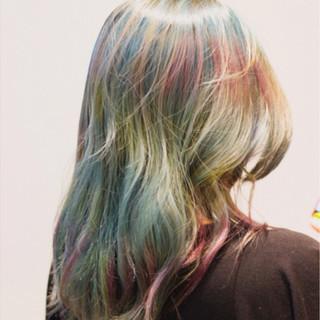 ダブルカラー カラフルカラー かわいい ガーリー ヘアスタイルや髪型の写真・画像