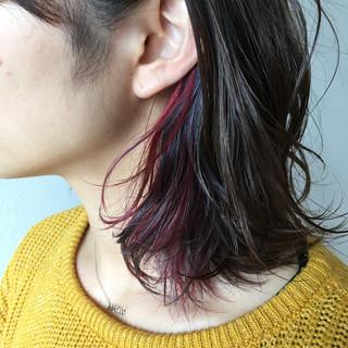バイオレット ブルーバイオレット ボブ インナーカラー ヘアスタイルや髪型の写真・画像