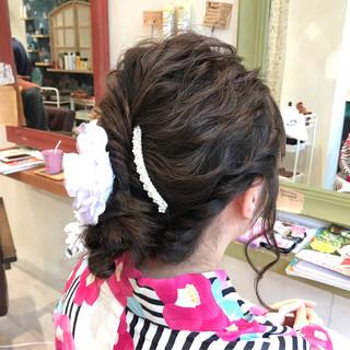 涼しげ 花火大会 セミロング 夏 ヘアスタイルや髪型の写真・画像