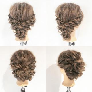 アップスタイル 簡単ヘアアレンジ エレガント 編み込み ヘアスタイルや髪型の写真・画像