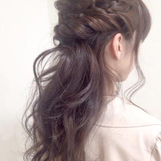 ロング ショート 編み込み ヘアアレンジ ヘアスタイルや髪型の写真・画像