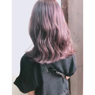 ピンク セミロング ラベンダー グレージュ ヘアスタイルや髪型の写真・画像