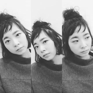 ハーフアップ 黒髪 ヘアアレンジ 外国人風 ヘアスタイルや髪型の写真・画像