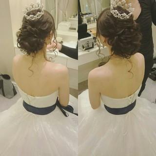 大人かわいい ドレス ゆるふわ ヘアアレンジ ヘアスタイルや髪型の写真・画像 ヘアスタイルや髪型の写真・画像