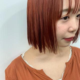 ボブ オレンジベージュ オレンジカラー ナチュラル ヘアスタイルや髪型の写真・画像