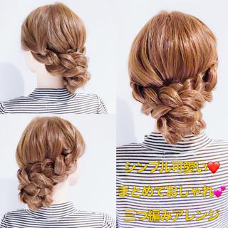 セルフヘアアレンジ ロング セルフアレンジ 三つ編み ヘアスタイルや髪型の写真・画像