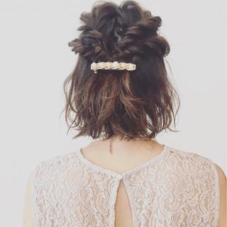編み込み ハーフアップ ヘアアレンジ パーティ ヘアスタイルや髪型の写真・画像