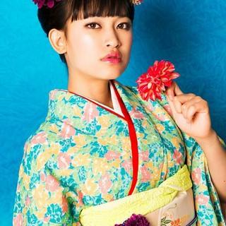 和服 セミロング 着物 ヘアアレンジ ヘアスタイルや髪型の写真・画像