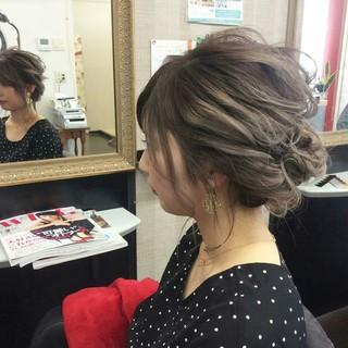 ヘアアレンジ ミディアム 結婚式 編み込み ヘアスタイルや髪型の写真・画像