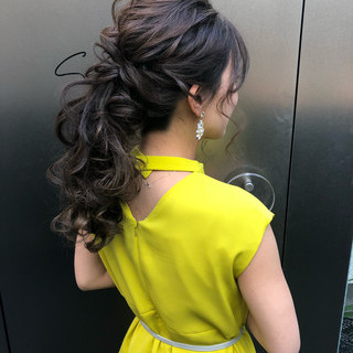 エレガント ロング ポニーテール 結婚式 ヘアスタイルや髪型の写真・画像 ヘアスタイルや髪型の写真・画像