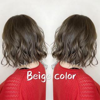 ボブ フェミニン ナチュラルベージュ ミルクティーベージュ ヘアスタイルや髪型の写真・画像