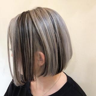 グラデーションカラー ショートボブ ハイライト インナーカラー ヘアスタイルや髪型の写真・画像