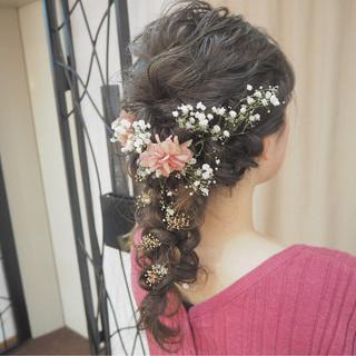 外国人風 ガーリー 編み込み セミロング ヘアスタイルや髪型の写真・画像 ヘアスタイルや髪型の写真・画像