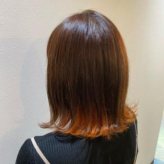 オレンジ インナーカラーオレンジ ガーリー ショートボブ ヘアスタイルや髪型の写真・画像