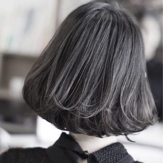 モード ボブ 黒髪 グレージュ ヘアスタイルや髪型の写真・画像