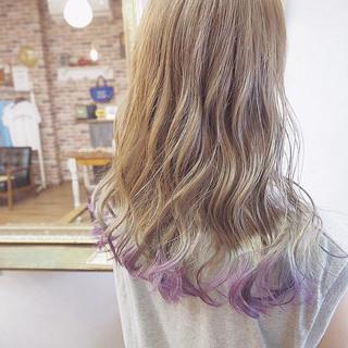 グラデーションカラー ガーリー ナチュラルベージュ ミディアム ヘアスタイルや髪型の写真・画像