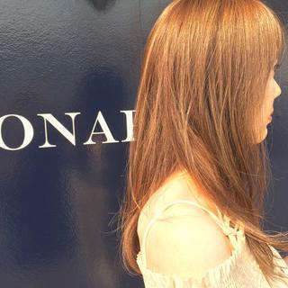 ハイライト 外国人風 ミルクティー セミロング ヘアスタイルや髪型の写真・画像