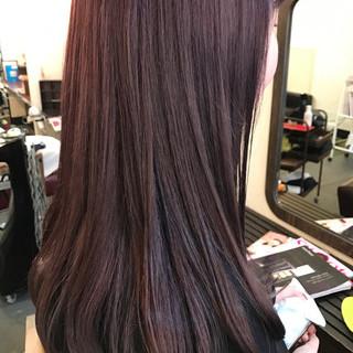 ミルクティー セミロング ベリーピンク ピンク ヘアスタイルや髪型の写真・画像