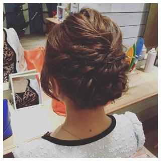 アップスタイル ヘアアレンジ 編み込み ミディアム ヘアスタイルや髪型の写真・画像