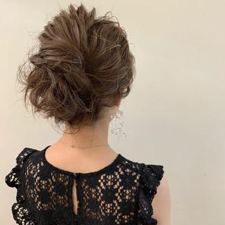 結婚式 ヘアアレンジ 大人かわいい セミロング ヘアスタイルや髪型の写真・画像