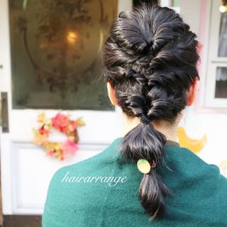 ロング 外国人風 黒髪 ヘアアレンジ ヘアスタイルや髪型の写真・画像