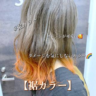 ガーリー セミロング 裾カラー ヘアスタイルや髪型の写真・画像