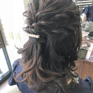 ヘアアレンジ ミディアム 結婚式 謝恩会 ヘアスタイルや髪型の写真・画像 ヘアスタイルや髪型の写真・画像