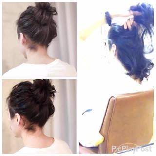 ショート ヘアアレンジ フェミニン 結婚式 ヘアスタイルや髪型の写真・画像