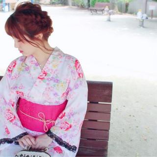セミロング 編み込み お祭り ヘアアレンジ ヘアスタイルや髪型の写真・画像