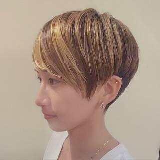 ショート グラデーションカラー マルサラ ストリート ヘアスタイルや髪型の写真・画像