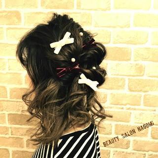 ヘアアレンジ 編み込み ブライダル ミディアム ヘアスタイルや髪型の写真・画像