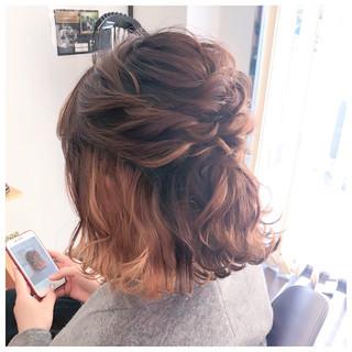 結婚式ヘアアレンジ フェミニン ボブ ヘアアレンジ ヘアスタイルや髪型の写真・画像