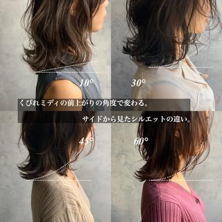 ウルフカット ネオウルフ ニュアンスウルフ ミディアム ヘアスタイルや髪型の写真・画像
