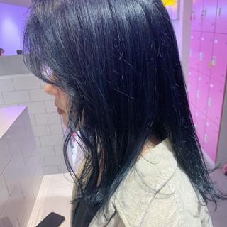 セミロング デート ネイビーブルー ヘアアレンジ ヘアスタイルや髪型の写真・画像
