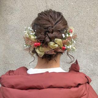 ガーリー 結婚式 セミロング ヘアセット ヘアスタイルや髪型の写真・画像