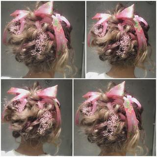 ヘアアレンジ ミディアム ハーフアップ 簡単ヘアアレンジ ヘアスタイルや髪型の写真・画像