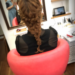 ヘアアレンジ 編み込み 波ウェーブ 結婚式 ヘアスタイルや髪型の写真・画像