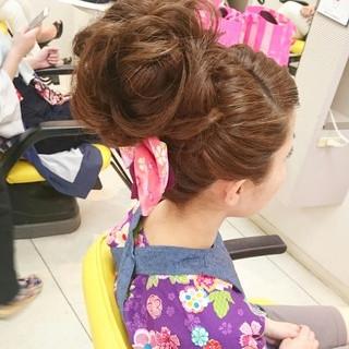お祭り 和装 着物 和服 ヘアスタイルや髪型の写真・画像
