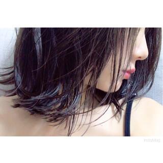 ナチュラル 外ハネ ボブ 切りっぱなし ヘアスタイルや髪型の写真・画像 ヘアスタイルや髪型の写真・画像
