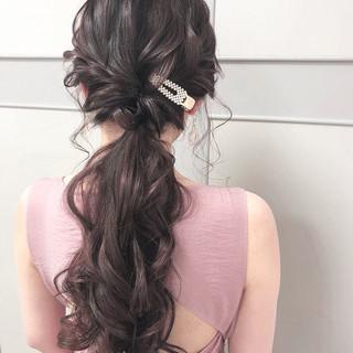 ヘアアレンジ ロング 大人可愛い ポニーテール ヘアスタイルや髪型の写真・画像