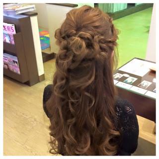 ヘアアレンジ ロング ハーフアップ ゆるふわ ヘアスタイルや髪型の写真・画像