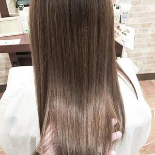 ガーリー グレージュ 外国人風カラー セミロング ヘアスタイルや髪型の写真・画像