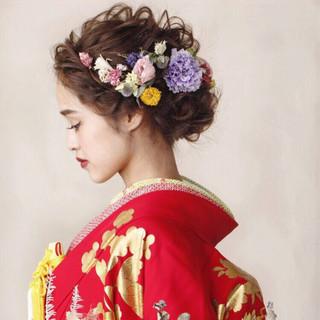セミロング ヘアアレンジ エレガント 大人かわいい ヘアスタイルや髪型の写真・画像