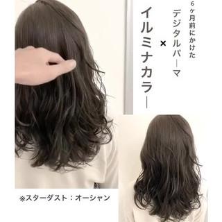 セミロング ナチュラル デジタルパーマ ナチュラルデジパ ヘアスタイルや髪型の写真・画像