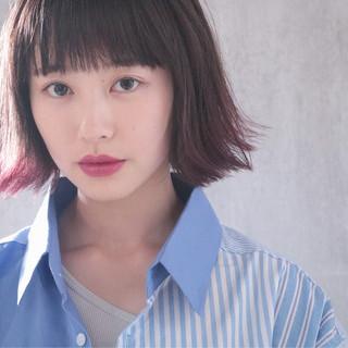 裾カラー ナチュラル ヘアアレンジ ラベンダーピンク ヘアスタイルや髪型の写真・画像