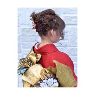 ショート 前髪パッツン 成人式 ミディアム ヘアスタイルや髪型の写真・画像