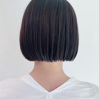 暗髪 ミニボブ ボブ 切りっぱなしボブ ヘアスタイルや髪型の写真・画像