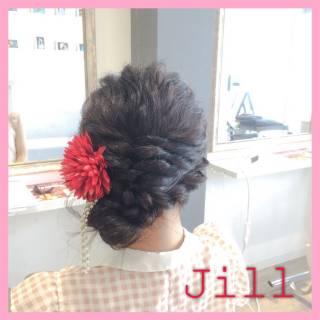 お祭り お団子 ショート ロープ編み ヘアスタイルや髪型の写真・画像