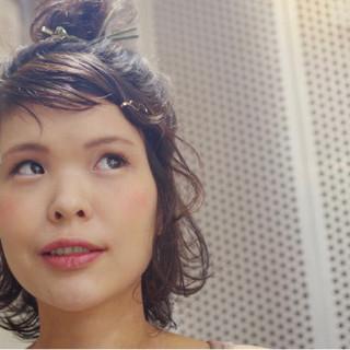 大人女子 ミディアム フェミニン ショート ヘアスタイルや髪型の写真・画像